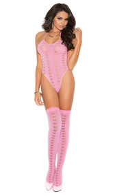 Sleeveless teddy with halter neck, cut out heart detail and matching thigh high stockings. Two piece set.