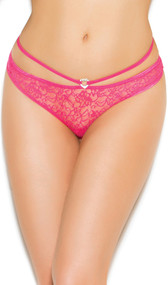 Lace panty with open back. Rhinestone heart detail on the front, satin bow detail on the back.