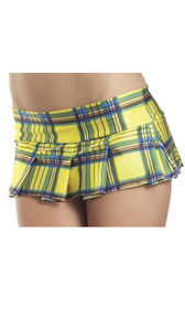 Plaid pleated mini skirt. Slip on style with a slightly stretchy waist.
