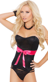 Lace strapless bustier with satin ribbon bow, boning and hook and eye back closure. Matching double-strap thong included. Two piece set.
