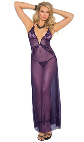 Deep V mesh gown with lace inserts, criss cross adjustable straps, and satin bow detail. Matching g-string is included.
