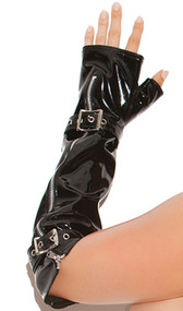 Fingerless vinyl gloves with buckle and zipper details. Separate hole for thumb, elbow length.