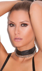 Leather choker with chain detail. Adjustable snap closure behind the neck.