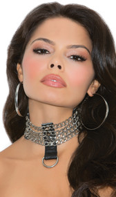 Leather and chain choker with studs and D ring detail. Back side is leather with adjustable double snap closure.