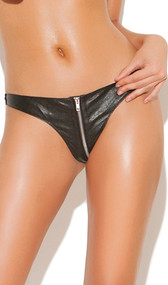 Zip up leather thong with Lycra back for a snug fit. Zipper does have protective material behind it.