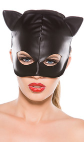 Faux leather cat mask.