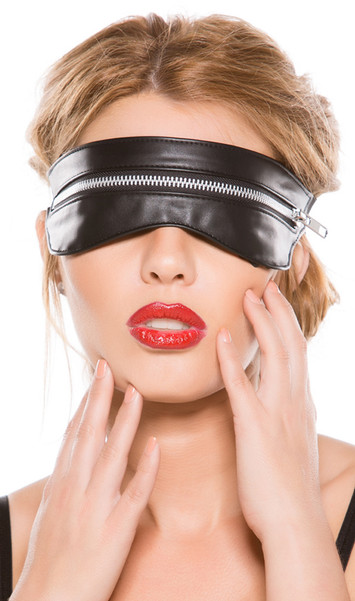 Faux leather zip mask with elastic back. Zipper does function.