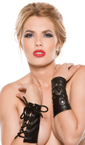 Faux leather arm guards with lace up sides and O ring detail.