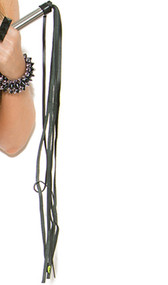 Leather fringe whip with silver handle.