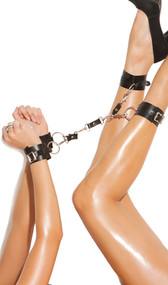 Leather wrist to ankle restraints with adjustable buckle closure and o ring detail. Each cuff can easily detach via a snap bolt hook.