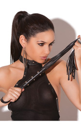 Leather fringe whip with studded detail and strap.
