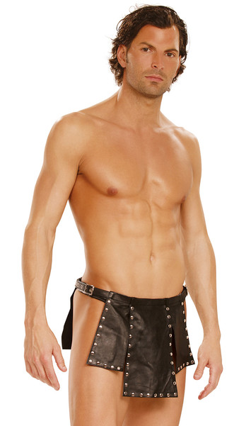 Studded leather apron style kilt with nail head trim, tiered flaps, open sides and adjustable buckle closures.