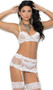 Embroidered mesh underwire bra with adjustable straps and hook and eye back closure. Waist cincher has boning and hook and eye closure. Garters are adjustable and detachable. Matching g-string included.