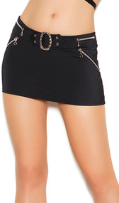 Lycra mini skirt with buckle and zipper detail. Plain back.