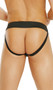 Leather zip front jock strap. Elastic back for a comfortable fit.
