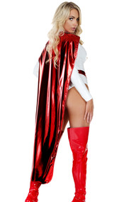 Full length metallic hero cape with hook and loop closure.