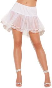 Lace trim petticoat with elastic waistband.