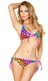 Pinup style rainbow daisy print tie front halter bikini top with hook back and pink trim. Matching side tie bottoms with full back.