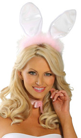Furry bunny ears with wire trim, satin front and furry back on covered headband. Pink marabou feather detail on front only.