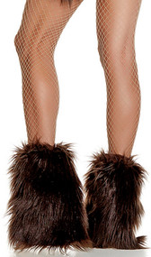Faux fur ankle leg warmers with elastic top.