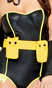 Utility belt with two compartments, snap closure. Compartments are removable from the belt. Belt has adjustable hook and loop closure.