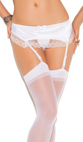 Satin garter belt with lace trim and bow accent. Garters are adjustable, non-detachable. Back clip closure on adjustable elastic band.