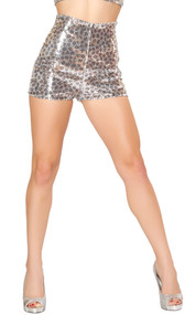 Leopard print high-waisted sequin shorts with back zipper.