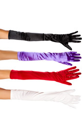 Mid arm length stretch satin opera gloves.
