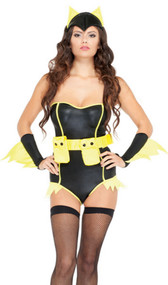 Bat to the Bone costume includes wet look strapless bodysuit with neon yellow trim, ears headpiece, and arm bands. Three piece set.