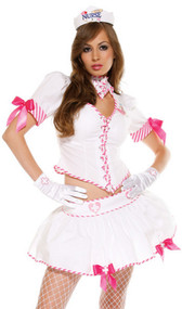 Eye Candy nurse costume includes white short sleeve top with pink and white candy-striped trim, satin bow detail on its puff sleeves, and lace up front. Matching skirt and hat also included. Three piece set.