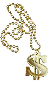 Dollar Sign Medallion plastic bead necklace with high-shine gold color finish.