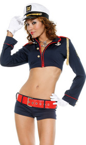 Navy Pinup Sailor costume includes zipfront long sleeve navy cropped jacket with gold accents and matching booty shorts, hat, gloves and belt. Five piece set.