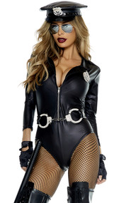 Do Not Cross Sexy Cop costume includes faux leather long sleeve bodysuit with zip front, badge, fingerless gloves, and sunglasses.