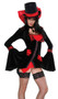 Vampire Vixen costume includes velvet coat with rhinestone hook-and-eye closure, lace detail and bell sleeves. Red slip-style dress and gloves are also included. Three piece set.