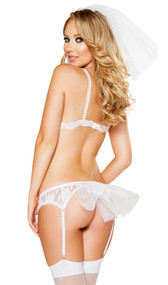 Bridal lingerie set includes lace bra triangle top with scalloped edges and hook closure, lace g-string, matching garter belt with blue satin bow, adjustable garters and mini tulle bustle in back, and tulle veil that attaches with hair comb. Four piece set.
