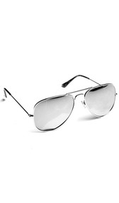 Reflective costume aviator style sunglasses.