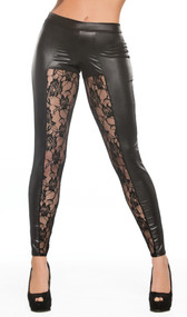 Wet look leggings with sheer floral lace panels. Full wet look back. Four way stretch for the perfect fit.