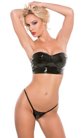 A sexy strapless crop top with bust-enhancing cups (no underwire). Full vinyl back. G-string included. Ultra stretch material, coated with the best Polyurethane finish available. Gives you the look, the feel and the perfect fit. Get the look and fit without the latex.