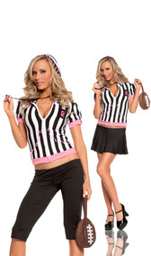 Sideline Sweetheart referee costume includes: hoodie, capris, skirt, whistle and football purse. Can be worn two different ways.