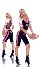 Tight End football costume includes: cami top, capris and inflatable football.