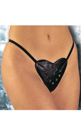 Leather heart shaped studded g-string with elastic back.