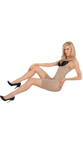 Frontless seamless body shaper with firm compression. Wide straps provide comfort. Wide support band reduces bulge on thigh. Slims and smoothes waist, tummy and lower back. Convertible gusset (crotch) for convenience and comfort. Frontless for use with your own bra.