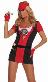 Bulls Eye Babe darts costume includes short sleeve dress, cami top, belt, faux darts, gloves and visor. Six piece set.
