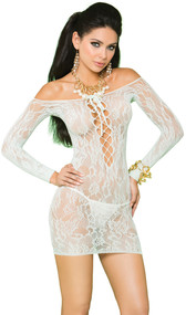 Off the shoulder long sleeve lace mini dress with lace up front.