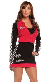 High Speed Hottie racing uniform costume includes dress with checkered print detail and long sleeve zip front jacket. Two piece set.