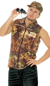 "Rack Hunter costume includes camouflage zip front sleeveless shirt and hat. Patch says ""Big Rack Hunting Club""."