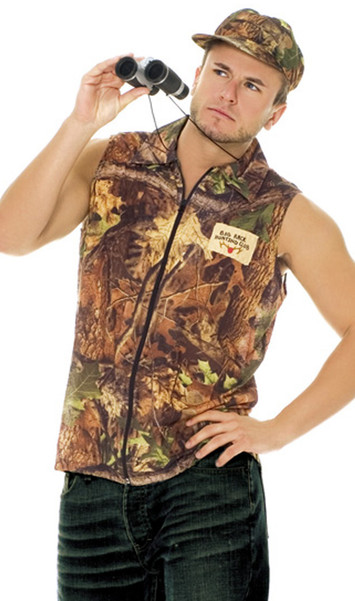 """Rack Hunter costume includes camouflage zip front sleeveless shirt and hat. Patch says """"Big Rack Hunting Club""""."""