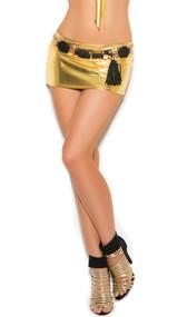 Lamé mini skirt. No pockets or belt loops.