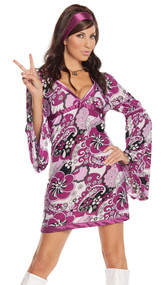 Vintage Vixen retro costume includes paisley print dress with bell sleeves and satin head piece. Two piece set.