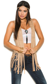 Faux suede vest with fringe and lacing detail.